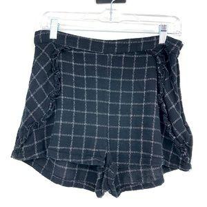 Free People Black & White Ruffle Trim Shorts 10